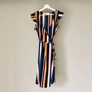 Multi-color wrap dress